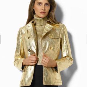 Ralph Lauren Gold Metallic Button Up Jacket